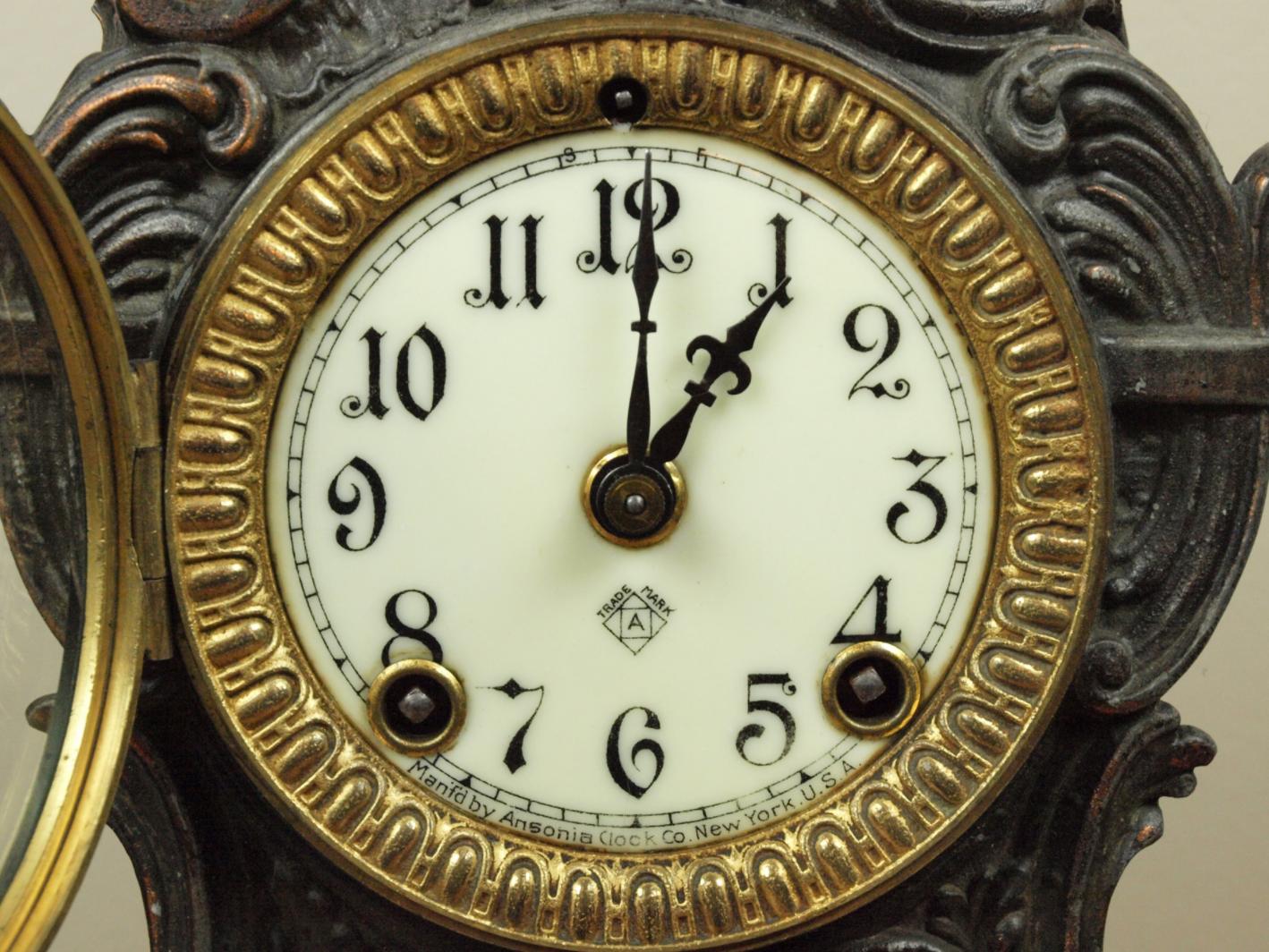 Ansonia Figural Mantel Clock, Circa 1901