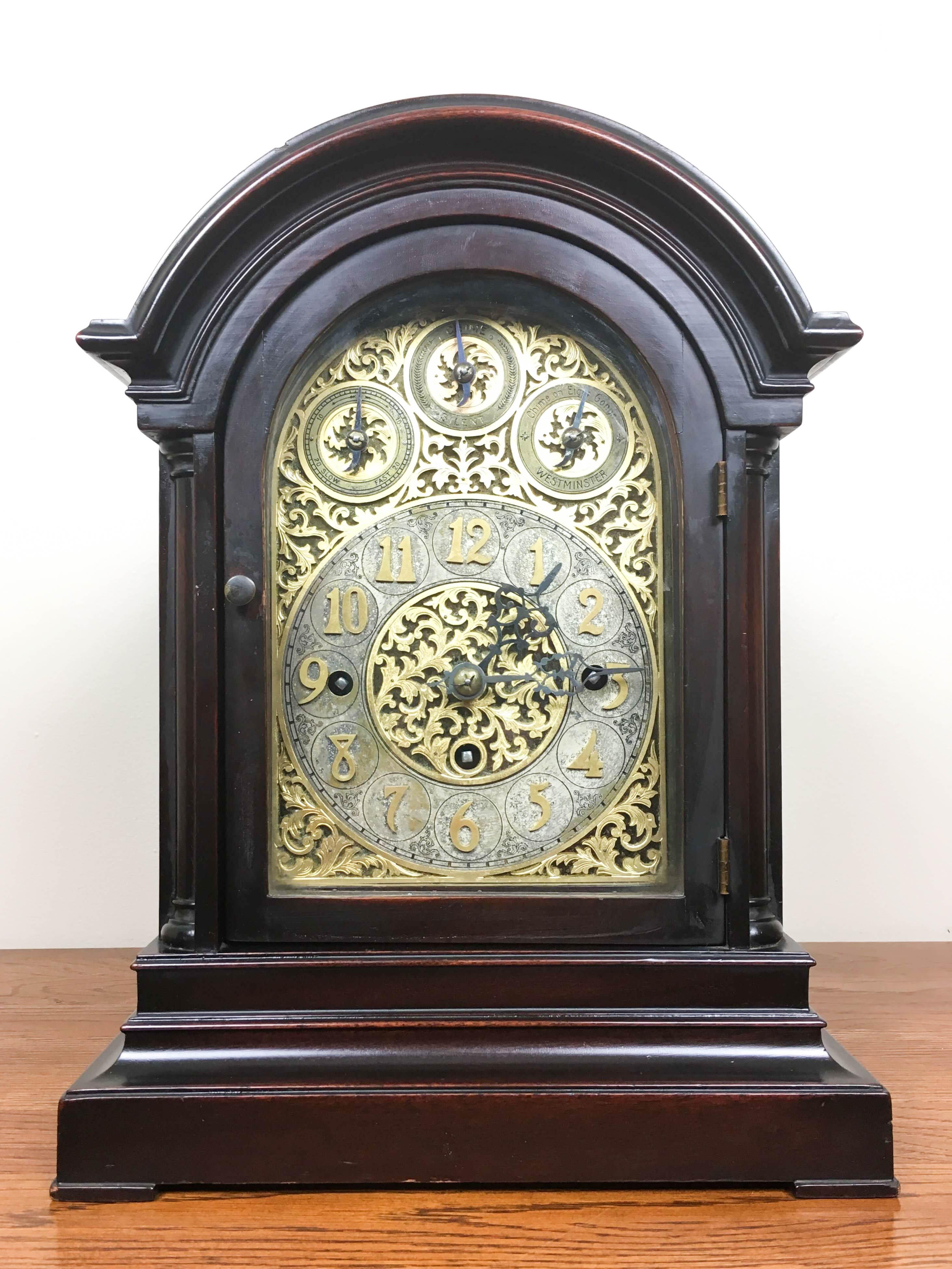Triple Fusee Nine Gong Mantel Clock